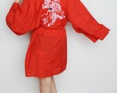 Vintage Red Dragon Embroidered Chinese Robe Coverup