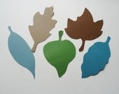 Blue Green Brown, Fall Decor, Leaf Placecards, Fall Wedding Leaves, Large 4 inch Card Stock Leaf Cutouts, Die Cuts, Scrapbooking, Set of 25
