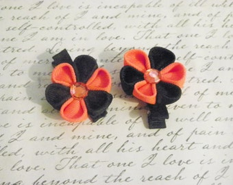 Orange and Black Kanzashi Flower Alligator Clips