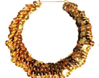 Chi22 London Large Sequin Bamboo Hoop Earrings