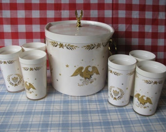 Gold Eagle Thermo Ice Bucket & 6 Tumblers - Patriotic -  Americana -  Vintage 1960's