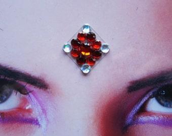 Frozen cherry bindi - tribal fusion bellydance accessory - hindu woman jewelry - winter red white rhinestone bindi - fantasy