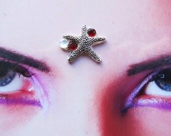 tribal fusion bellydance red rhinestone starfish bindi - indian woman jewelry - hindu face decoration - fantasy accessory