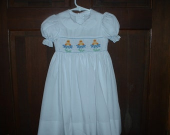 White Hand Smocked Dress Smocked with Ducks & Flowers in the rain-2T-6