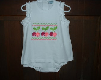 White Embroidered Skirted Bubble---Cherries--18 months