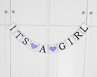 FREE SHIPPING, It's A Girl banner, Baby shower decoration, Baby gender announcements, Baby photo prop, Gift for mother and baby girl, Purple