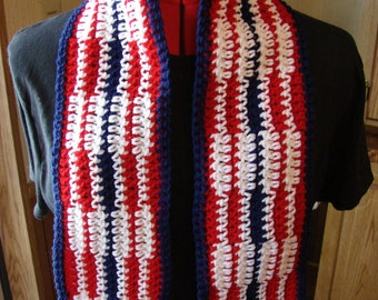 Crochet Patriotic Red White And Blue Scarf