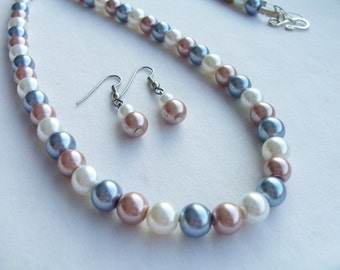 Long glass pearl necklace and earring set - pearl jewelry set - glass pearl set - pastel pearl jewelry - pearl earrings - pearl necklace