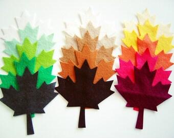 Wholesale 100 Piece Die Cut Felt Maple Autumn - Spring - Summer  Leaves- Mixed Colors OR Choise Your Color