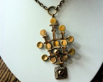 Sarpaneva Finland Vintage Bronze Necklace, 1970s Modernist Necklace