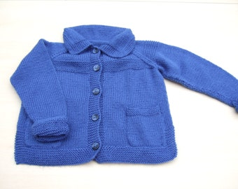 Hand knitted boys girls blue cardigan with pockets 2 - 3 years children's clothing - knitted baby clothes