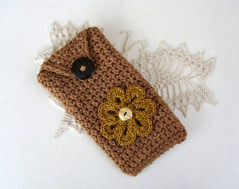 Crochet Eyeglass Case Army Tan Cotton With Flower
