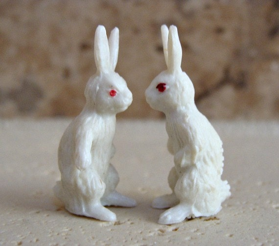 Small Toy Rabbits : Vintage miniature toy bunny rabbits