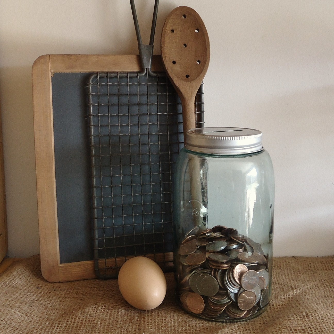Mason Jar Kitchen Decor Set: Vintage Blue Mason Jar Bank Vintage Kitchen Decor Country