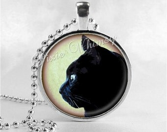 BLACK CAT Necklace, Black Cat Pendant, Cat Jewelry, Cat Charm, Glass Photo Art Necklace Pendant, Black Cat Jewelry, Halloween, Gothic