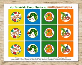 Hungry Caterpillar PRINTABLE Birthday Party Circles by Mulligan Designs