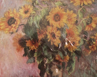 On sale! masterpiece: Sunflowers by Claude Monet 1950's quality full color reprint