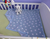 Super soft fleece baby blanket with crocheted edging in blue with white stars