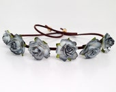 Flower Crown - Flower Headband - Music Festival Wear, Coachella, Rave or any occasion - Small Bloom - New Color-Grey