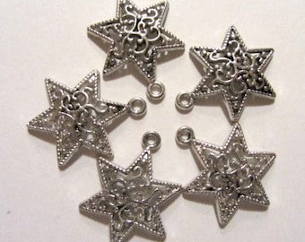 5 pieces Tibetan Silver Star of David Charm Pendant