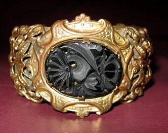 Divine Bold Victorian Carved Black Vulcanite Gold Gilt Brass Floral Cannetille Mourning Cuff Bracelet