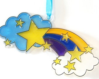 Ornament Clouds Rainbow And Stars2Handpainted Home Decor