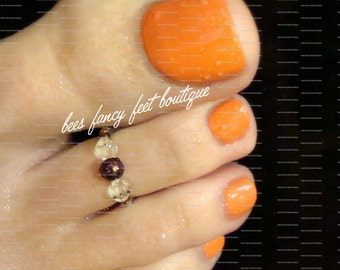 SALE - Toe Ring - Copper - Clear Swarvoski Crystals - Stretch Bead Toe Ring