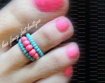 Stacking Toe Ring - Hot Pink - Blue- Stretch Bead Toe Ring