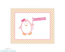 INSTANT DOWNLOAD, penguin baby shower, printable sign, it's a girl