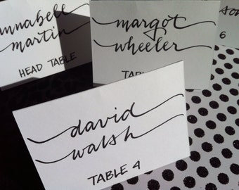 White PLACE cards and ESCORT cards in Custom Calligraphy for Wedding, Bridal and Baby Shower, Bar and Bat Mitzvah, and Special Occasion