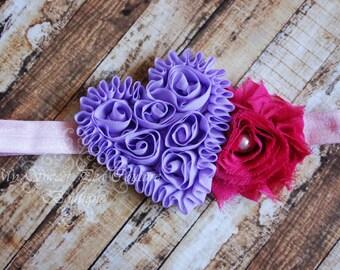 Purple Heart Shabby & Pink Shabby Flower Headband, Baby Headbands, Newborn Headbands, Infant Headbands, Toddler Headbands, Girls Headbands