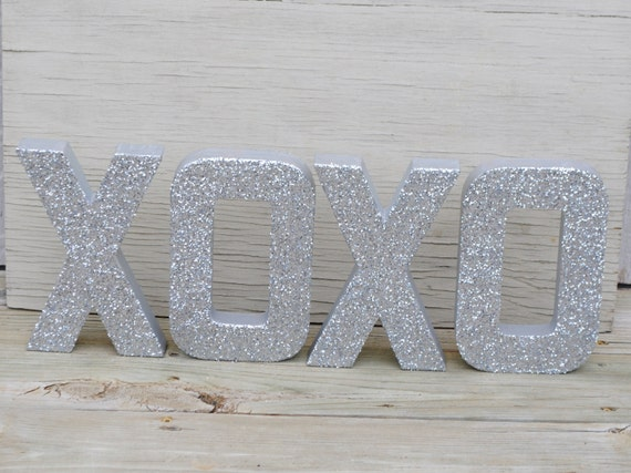 silver xoxo glitter stand up letters wedding decor wedding table gift table photo