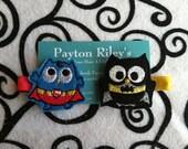 Superhero owl pigtail clip set