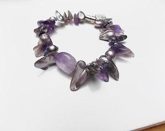 Vintage Keshi Pearls with Amethyst Bracelet