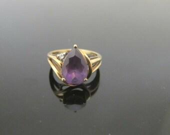 Teardrop Amethyst and Diamond 10k Gold Ring