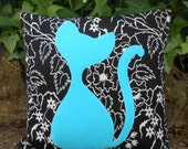 Lucky Cat Decorative Cushion - Turquoise Blue Cat Design feature pillow - black and blue Handmade Home accessory