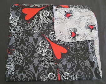 Goth Hearts Black Flannel Baby Blanket - Double Sided - Receiving Blanket (B3)