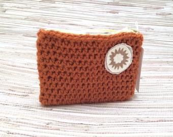 Coin Purse - burgundy crochet wallet - cute pouch