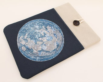 Macbook Pro sleeve, Moon Map, Macbook Air case, padded laptop cover, Macbook Retina padded sleeve, computer cover, 11 in, 13 in, 15 in, 17in