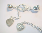 5) 10mm 8 Pc KUMIHIMO Findings Sets, Silver Plated, Glu on End Caps, Viking Knit, Lobster Clasp, End Caps, Heart Charm - Extension Ch.