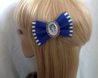 Sailor mercury hair bow clip rockabilly psychobilly pin up retro geek fabric blue striped ladies girls moon manga Venus Mars
