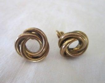 Vintage 12KT Gold Filled Knot Earrings Nice