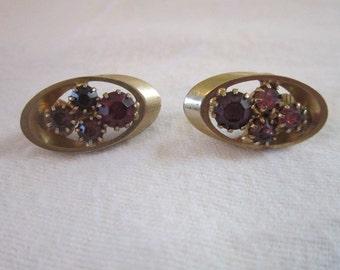 Vintage Clip on Purple Rhinestone & Gold Tone Earrings