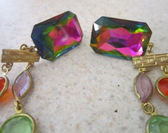 Vintage Bodacious  5 Inch Long Dangle Crazy Colorful Earrings