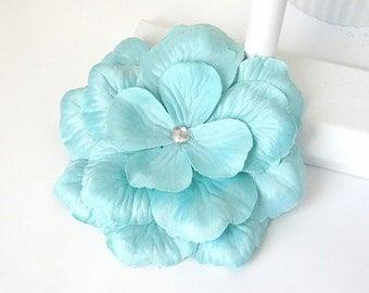 Aqua Wedding Corsage, Bridesmaid Flower, Blue Fabric Flower Pin, Aqua Wedding, Flower Fasinator, Flower For A Sash