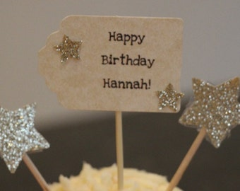 custom happy Birthday cupcake toppers
