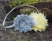 Grey and Yellow Shabby Flower Headband, photo prop, Newborn, toddler, adult