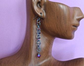 Handmade Chainmaille Niobium Orbital Earrings with Swarovski SiamAB2X Bicone Crystal Dangles