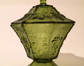 Anchor Hocking Covered compote/candy dish, Avocado green