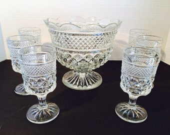 Vintage Trifle Bowl & 6 Dessert Goblets by Anchor Hocking Summer Party Decor